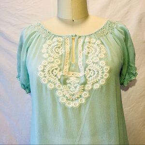 Tocca Silk Peasant blouse.